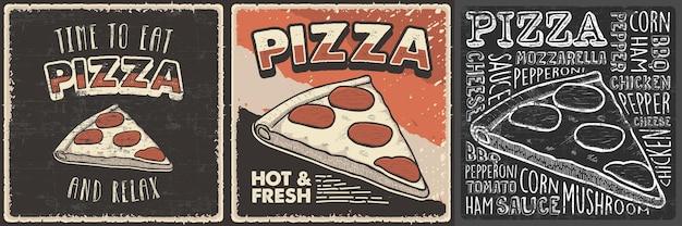 Retro vintage handgetekende illustratie van pizza geschikt voor houten poster wall decor of signage