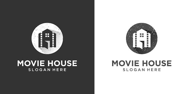 Retro vintage huis met inspiratie voor het ontwerp van het logo van de filmrol