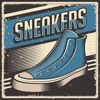 Retro vintage illustratie van sneakers schoenen