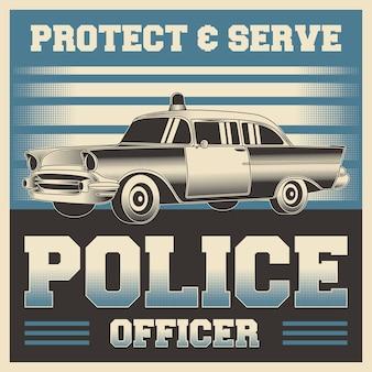 Retro vintage illustratie vectorafbeelding van politieagent geschikt voor houten poster of bewegwijzering