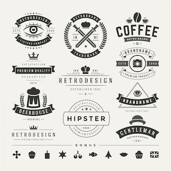 Retro vintage insignes of logo's instellen vector designelementen