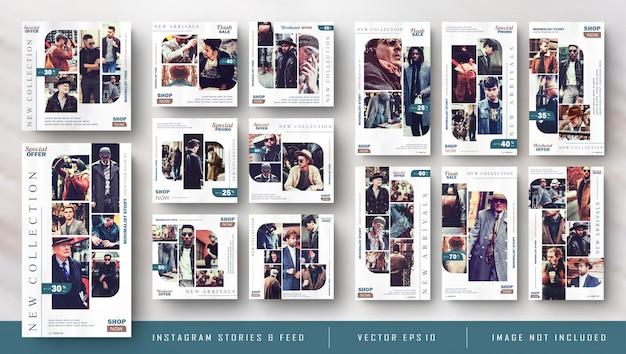 Retro vintage instagram-verhalen en feedpostbundelkitbanner