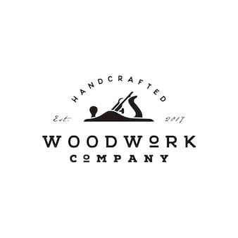 Retro vintage jack vliegtuig houtbewerking logo ontwerp