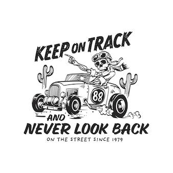 Retro vintage logo met skelet rijden auto illustratie