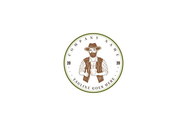 Retro vintage man mannelijk mannelijk hoofd logo ontwerp vector