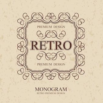 Retro vintage monogram-elementen