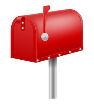 Retro vintage rode brievenbus op wit