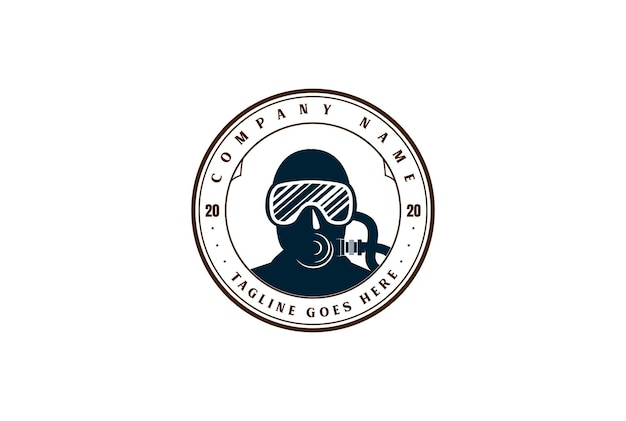 Retro vintage scuba mask voor duiken sport club logo design vector