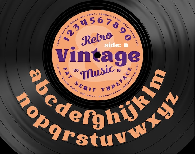 Retro vintage serif vet lettertype. alfabetletters op de achtergrond van vinyl record.
