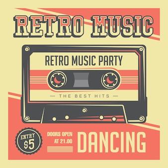 Retro vintage signal van de muziek compacte cassette affiche
