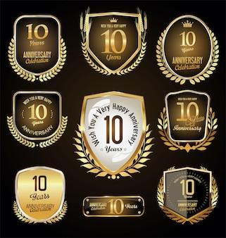 Retro vintage stijl verjaardag gouden ontwerp vector 10 jaar