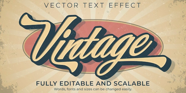 Retro vintage teksteffect sjabloon