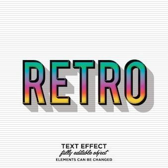 Retro vintage tekststijl met regenboog kleurverloop en schaduw