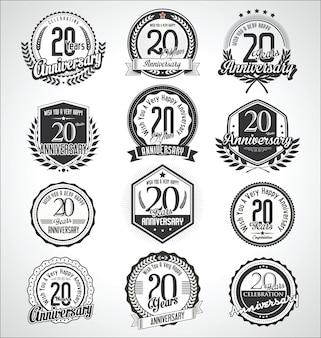 Retro vintage verjaardag badges en labels-collectie