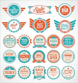 Retro vintage verkoop badges en labels-collectie