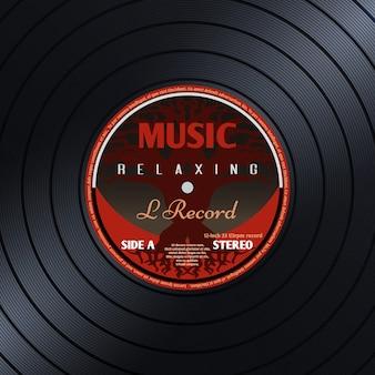 Retro vinyl muziekaffiche van het verslagetiket