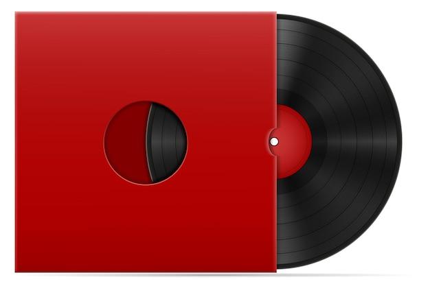 Retro vinyl schijf in de hoes stock illustratie geïsoleerd op een witte achtergrond