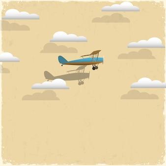 Retro vliegtuig en wolken van papier