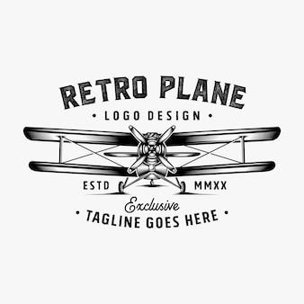 Retro vliegtuig logo ontwerp inspiratie