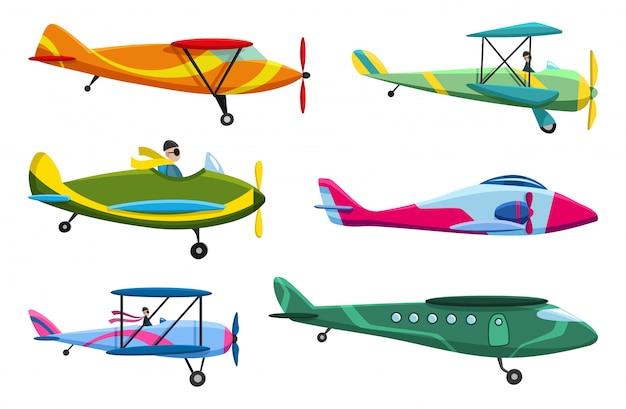 Retro vliegtuig set. collectie van oude aiplane vliegtuigen. verschillende soorten vliegtuigen. pictogrammen illustratie