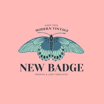 Retro vlinder badge linosnede bewerkbare sjabloon