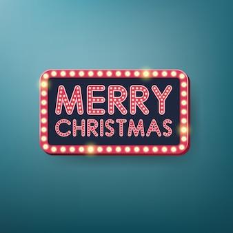 Retro vrolijk kerstmis licht frame