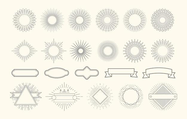 Retro vuurwerkset. vintage sunburst grafische elementen. zonsopgang cirkel lijn decoraties. badges met stralen, decoratieve labelframes