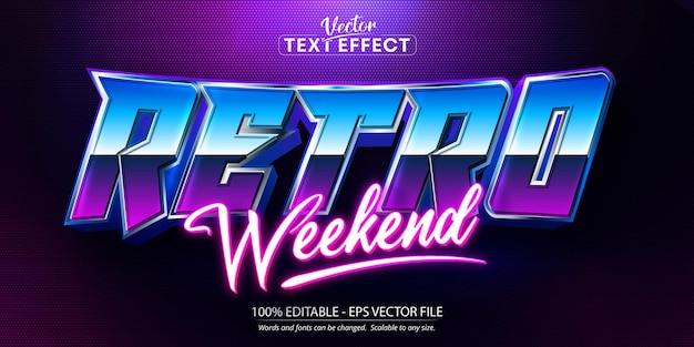Retro weekendtekst, bewerkbaar teksteffect in neonstijl