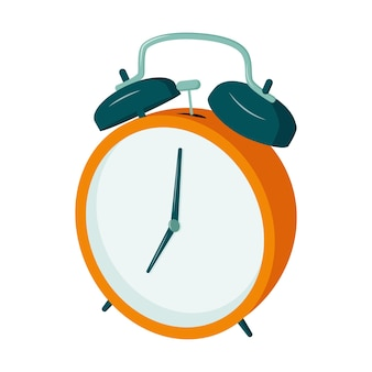 Retro wekker met een hamer, 7 uur. tijd om wakker te worden voor school en werk.