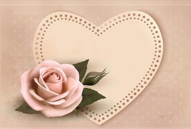 Retro wenskaart met roze roos en hart. valentijnsdag.