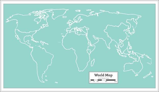 Retro wereldkaart. vectorillustratie.