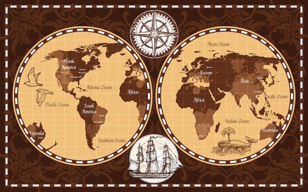 Retro wereldkaart
