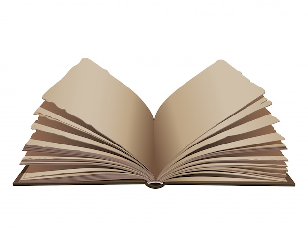 Retro wijnoogst geopend boek met bruine dekking op witte achtergrond.