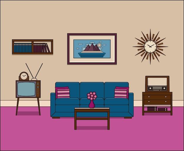 Retro woonkamer, lineair interieur,