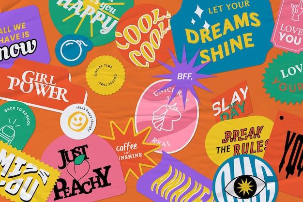 Retro woord sticker kleurrijke achtergrond papier textuur