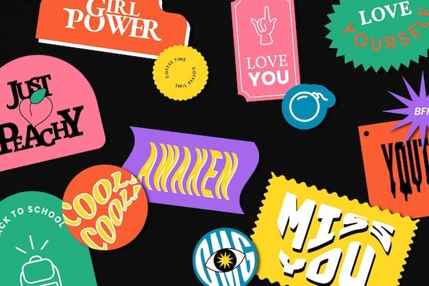 Retro woord sticker patroon achtergrond