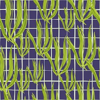Retro zeewier naadloos patroon op streepachtergrond. mariene planten behang. onderwater gebladerte achtergrond. ontwerp voor stof, textielprint, verpakking, omslag. vector illustratie.