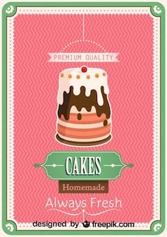 Retro zelfgebakken cake poster ontwerp