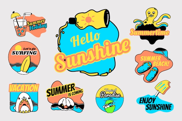Retro zomer badge set