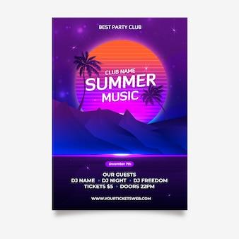 Retro zomer muziek poster sjabloon