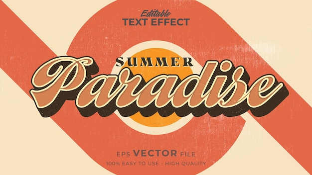 Retro zomerparadijs tekst in grunge-stijl thema