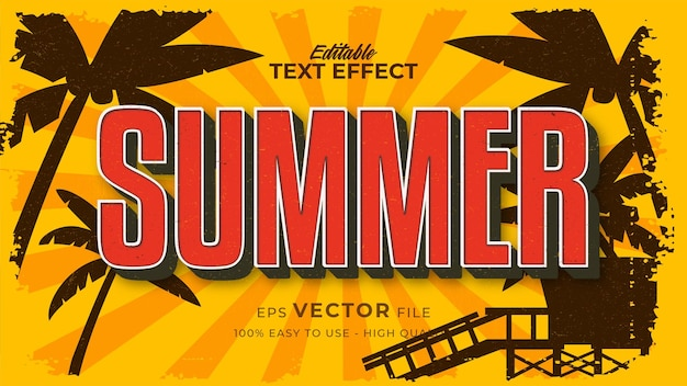 Retro zomertekst in grunge-stijlthema