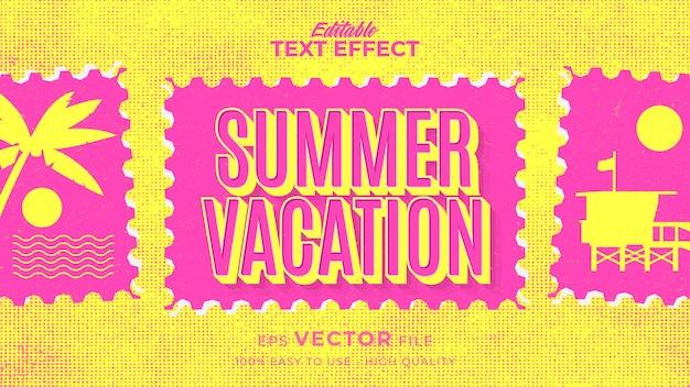 Retro zomervakantie tekst in grunge-stijl thema