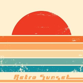 Retro zonsondergang poster met vintage grunge textuur. vector illustratie.
