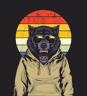 Retro zonsondergang wolf illustratie