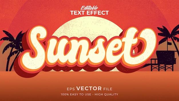 Retro zonsondergang zomer tekst in grunge stijl thema