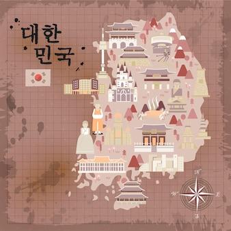 Retro zuid-korea reisposterontwerp - korea in koreaanse woorden linksboven