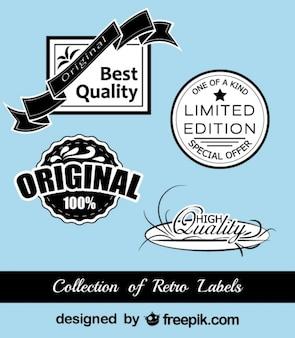 Retro zwart-blauwe stickers collectie