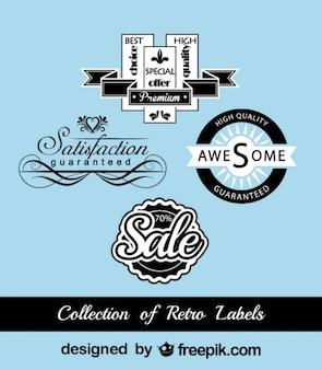 Retro zwart en blauw marketing stickers