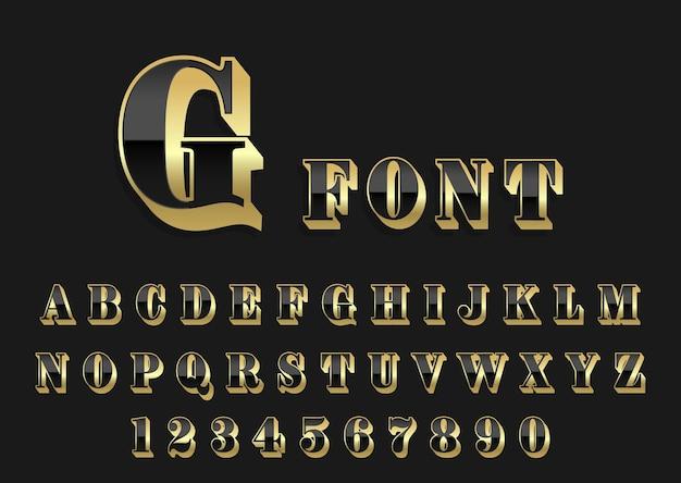 Retro zwart en goud alfabet